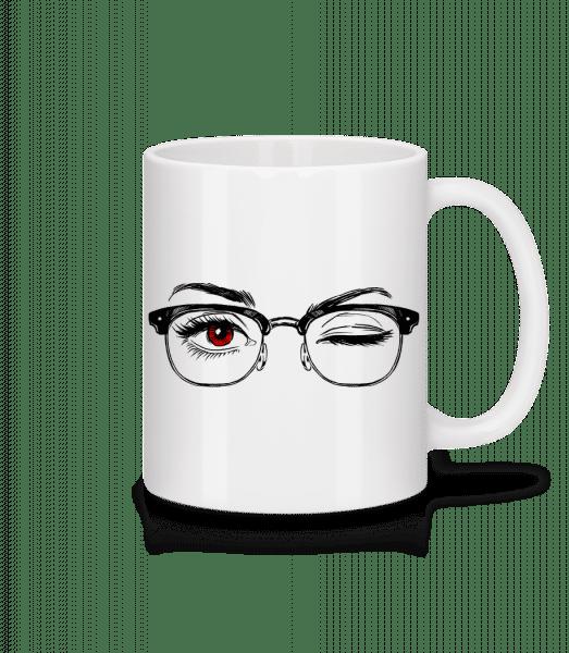 Hipster Eyes Red - Keramický hrnček - Biela - Predné