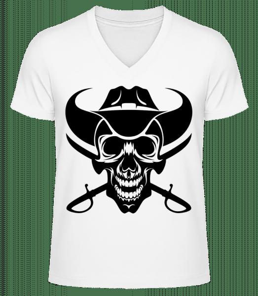 Wild West Skull - Men's V-Neck Organic T-Shirt - White - Vorn