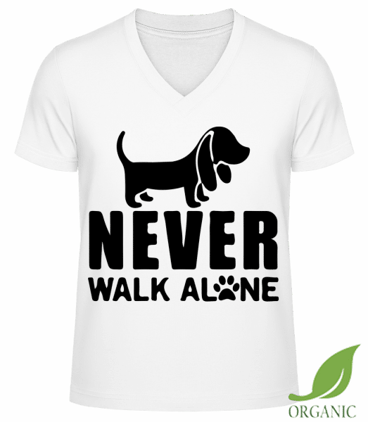"Never Walk Alone Dog - ""James"" Organic V-Neck T-Shirt - White - Vorn"
