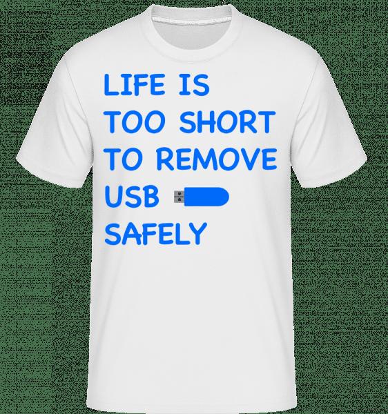 Remove USB Bezpečne -  Shirtinator tričko pre pánov - Biela - Predné