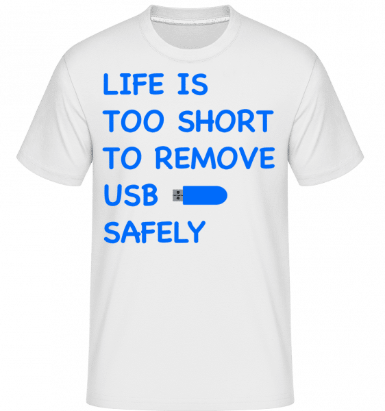 Remove USB Safely -  Shirtinator Men's T-Shirt - White - Front