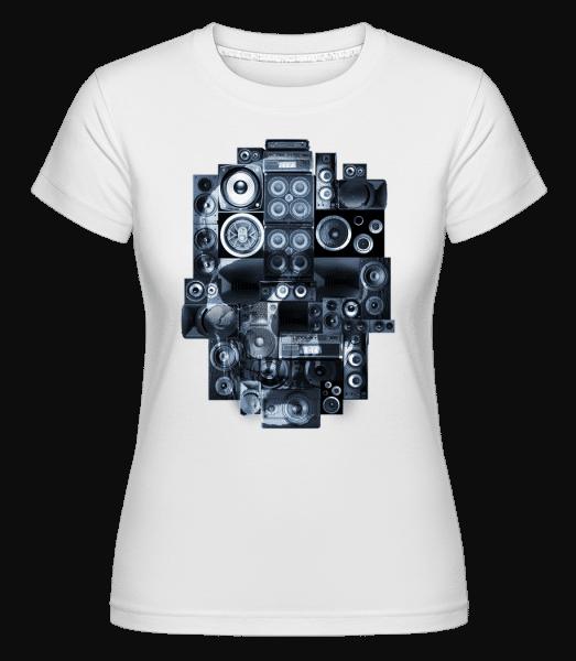Boombox Skull -  Shirtinator Women's T-Shirt - White - Vorn