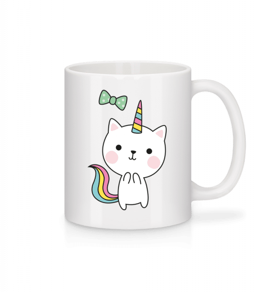 Unschuldige Einhorn Katze - Tasse - Weiß - Vorn