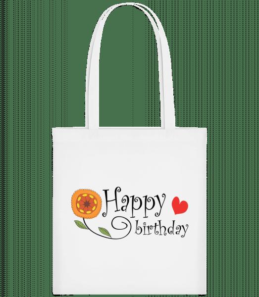 Happy Birthday Blume - Stoffbeutel - Weiß - Vorn