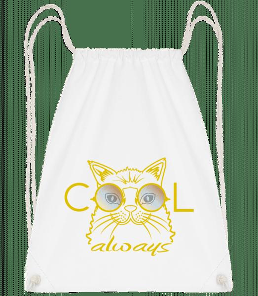 Cool Cat - Drawstring Backpack - White - Vorn