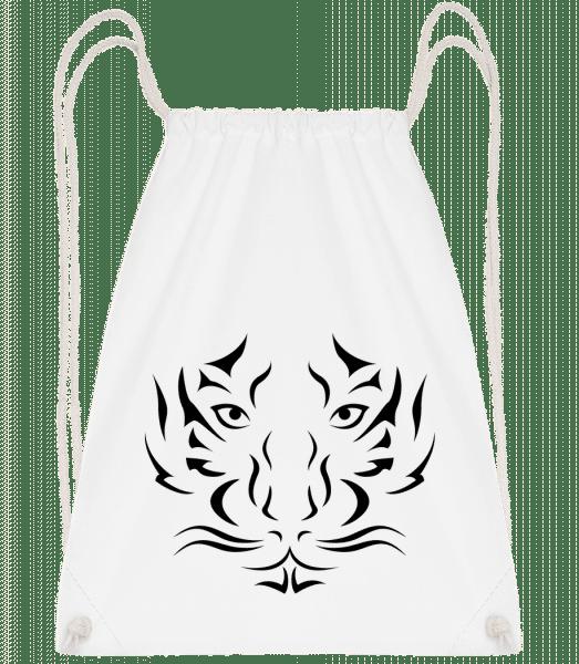 Tiger Head - Drawstring Backpack - White - Vorn