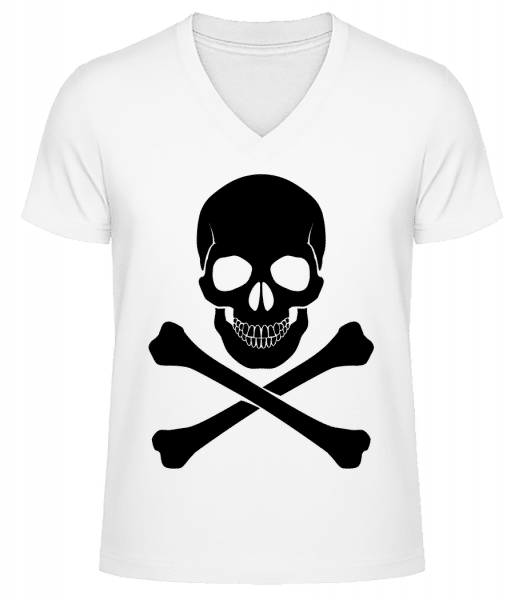Skull And Bones - Men's V-Neck Organic T-Shirt - White - Vorn