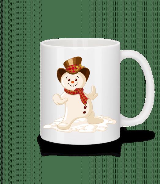 Schneemann mit Hut - Tasse - Weiß - Vorn