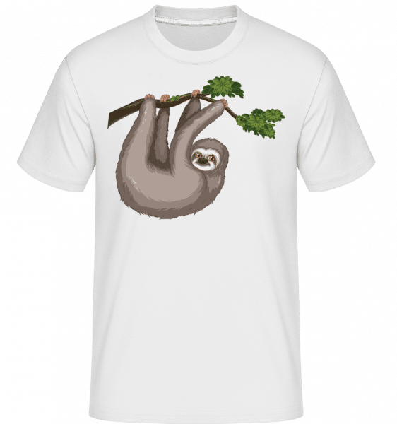 Sloth Hanging On A Branch -  Shirtinator Men's T-Shirt - White - Vorn