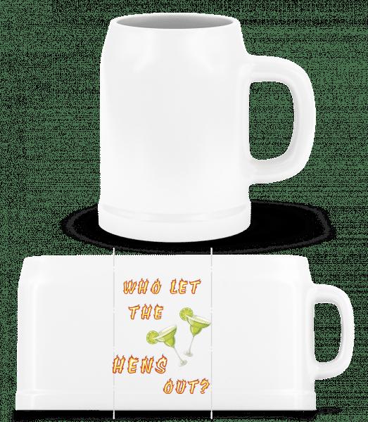 Who Let The Hens Out? - Beer Mug - White - Vorn