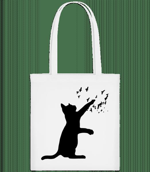 Cat And Birds - Carrier Bag - White - Vorn
