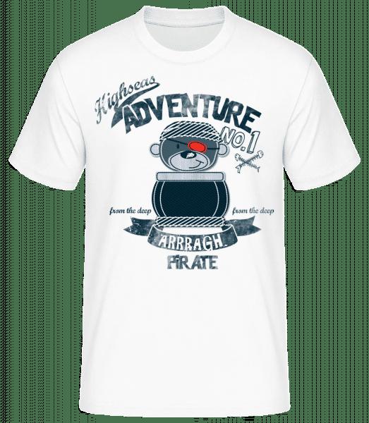 Pirate Teddy Adventure - Männer Basic T-Shirt - Weiß - Vorn
