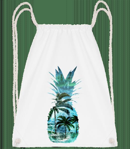 Pineapple Palms - Drawstring Backpack - White - Vorn