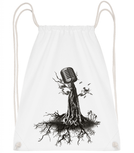 Microphone Tree - Drawstring Backpack - White - Vorn