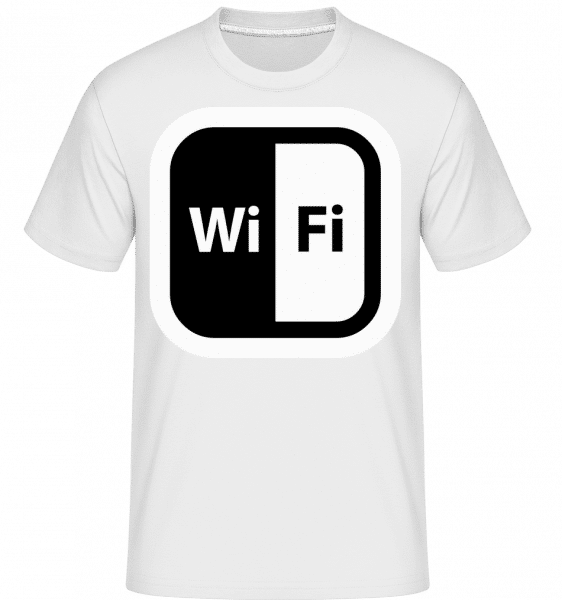 WiFi Icon Black/White -  T-Shirt Shirtinator homme - Blanc - Devant