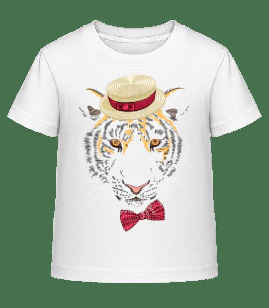 Tiger With Hat - Kid's Shirtinator T-Shirt - White - Vorn