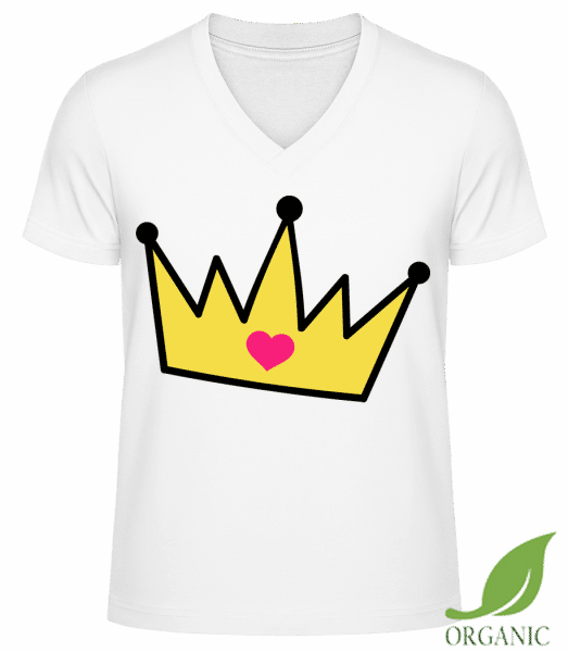 Crown With Heart - Männer Bio V-Neck T-Shirt - Weiß - Vorn