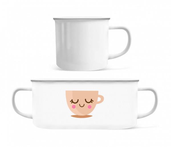 Cute Coffee Mug - Enamel-cup - White - Front
