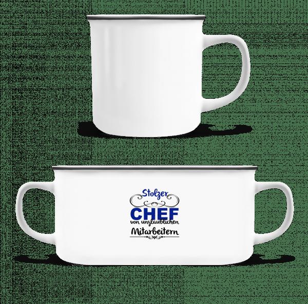 Stolzer Chef - Emaille-Tasse - Weiß - Vorn