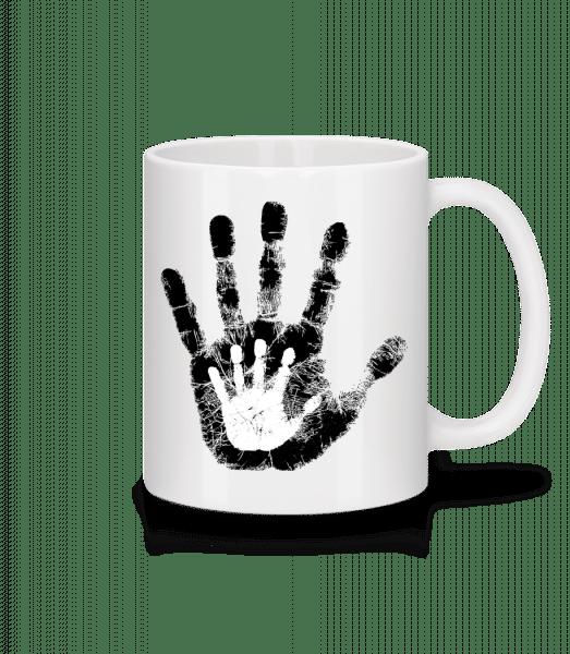 Hand rodiče Kid - Keramický hrnek - Bílá - Napřed