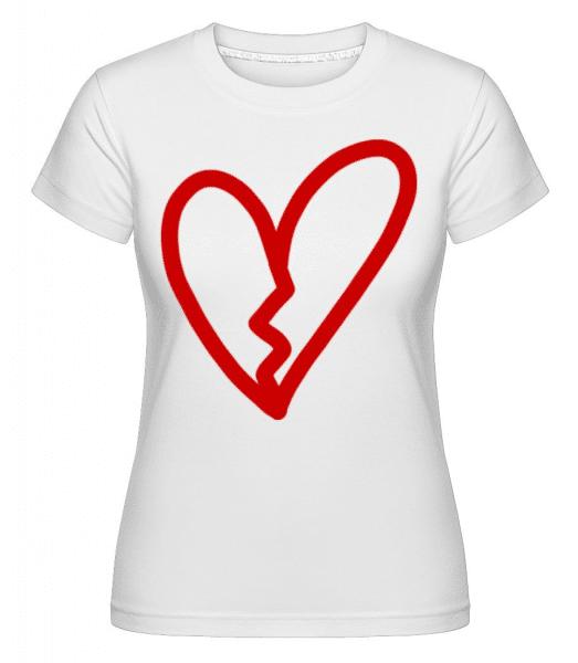 Broken Heart -  Shirtinator Women's T-Shirt - White - Front