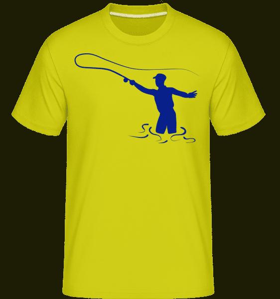Fishing Symbol Blue - Shirtinator Männer T-Shirt - Apfelgrün - Vorn