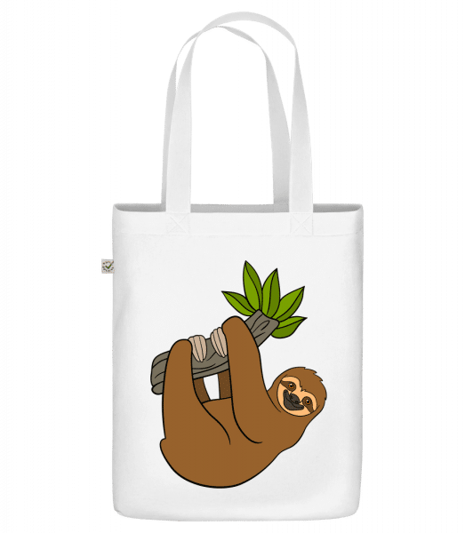 """Sloth Hangs On The Branch - Organic """"Earth Positive"""" tote bag - White - Vorn"""