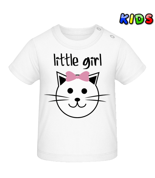 Little Girl - Cat - Baby T-Shirt - White - Vorn