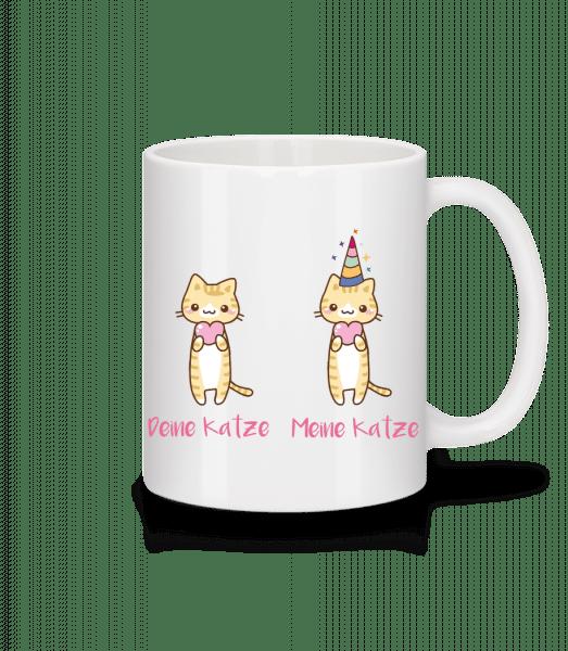 Deine Katze Meine Katze - Tasse - Weiß - Vorn