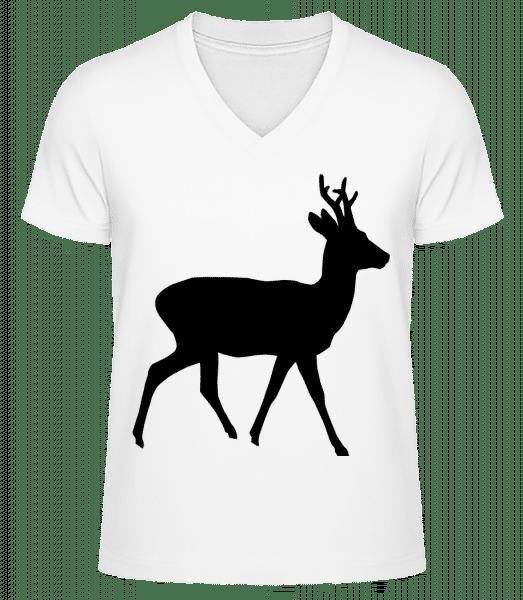 Silhouette Deer - Men's V-Neck Organic T-Shirt - White - Vorn