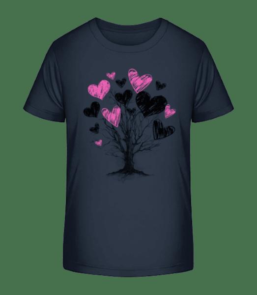 Heart Tree - Kid's Premium Bio T-Shirt - Navy - Front