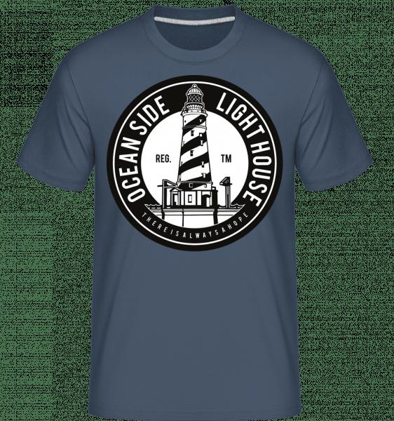 Ocean Side Light House -  Shirtinator Men's T-Shirt - Denim - Vorn