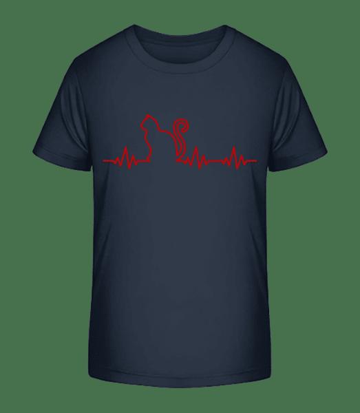 Heartbeat Cat - Kid's Premium Bio T-Shirt - Navy - Vorn