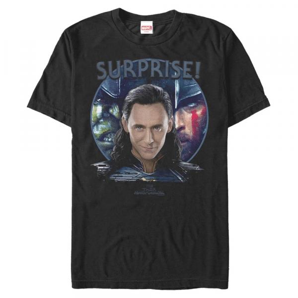 Loki Surprise Trio Group Shot - Marvel Thor Ragnarok - Men's T-Shirt - Black - Front