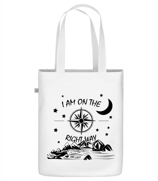 "I Am On The Right Way - Organic ""Earth Positive"" tote bag - White - Front"
