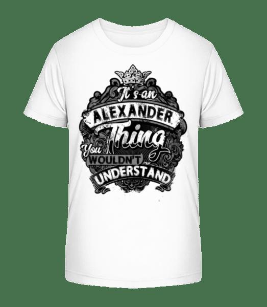 Jeho Alexander Thing - Detské Premium Bio tričko - Bílá - Napřed