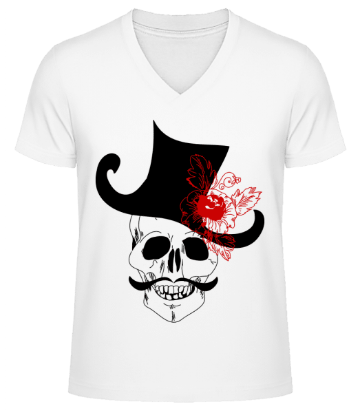 Skull With Hat - Men's V-Neck Organic T-Shirt - White - Front