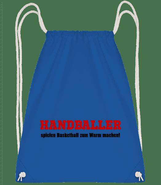Handballer Spielen Basketball Zu - Turnbeutel - Royalblau - Vorn