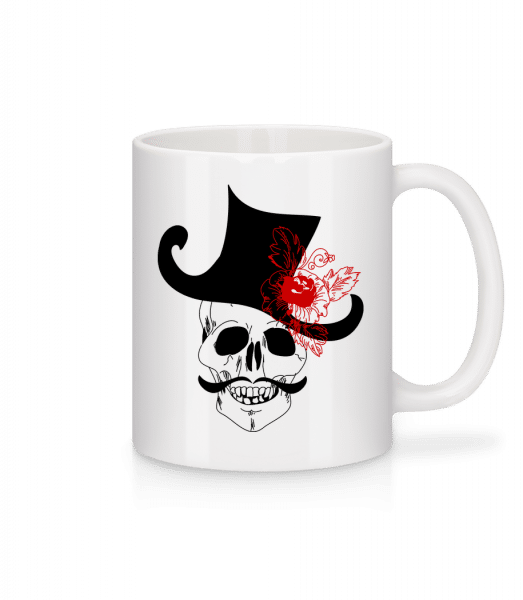 Skull With Hat - Mug - White - Front