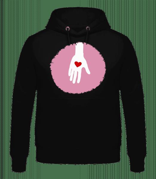 Hand With Heart - Men's Hoodie - Black - Vorn