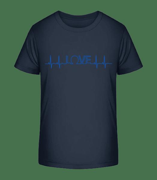 láska Heartbeat - Detské Premium Bio tričko - Namornícka modrá - Predné