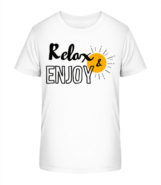 Relax Enjoy - Kid's Premium Bio T-Shirt - White - Vorn