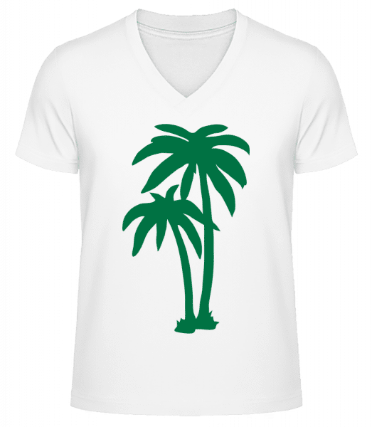 Two Palm Trees - Men's V-Neck Organic T-Shirt - White - Vorn