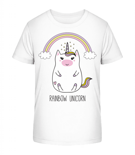 Rainbow Unicorn - Detské Premium Bio tričko - Biela - Predné