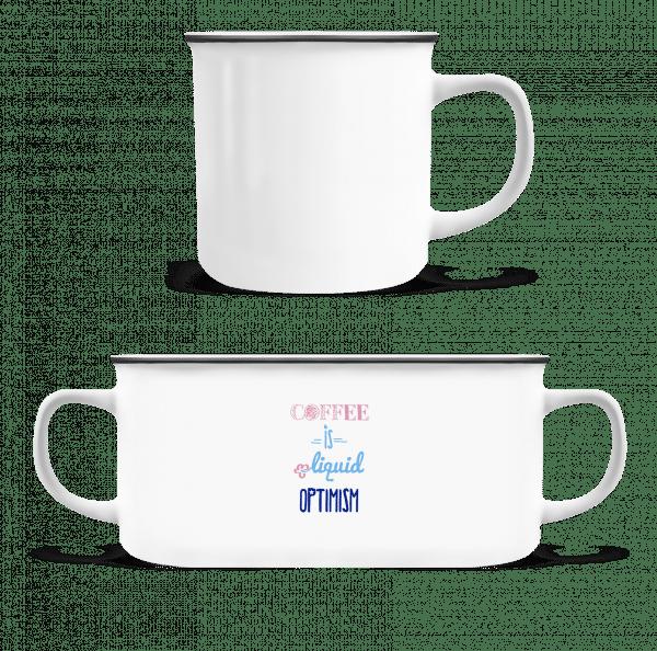 Coffee Is Liquid Optimism - Enamel-cup - White - Vorn