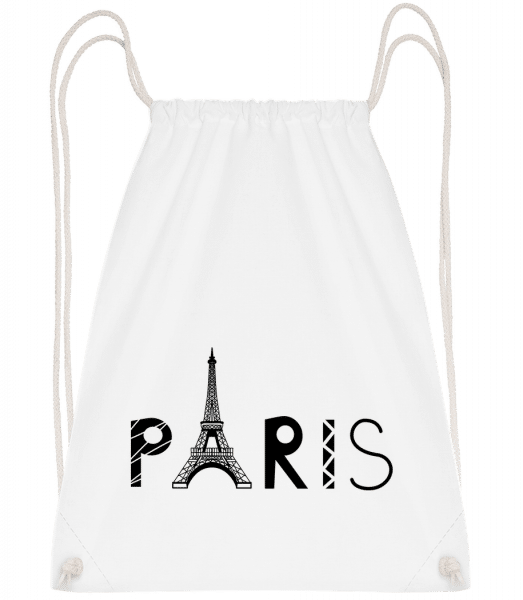 Paris France - Drawstring Backpack - White - Vorn