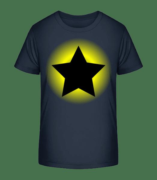 Žiariaca hviezda - Detské Premium Bio tričko - Namornícka modrá - Predné