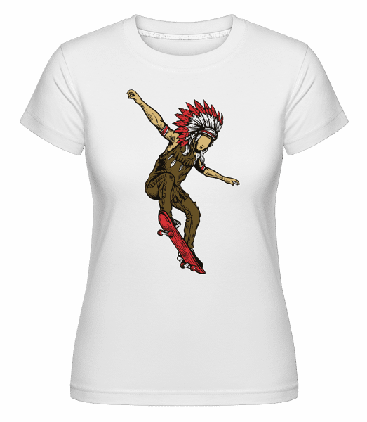 Indian Chief Skateboard -  Shirtinator Women's T-Shirt - White - Vorn