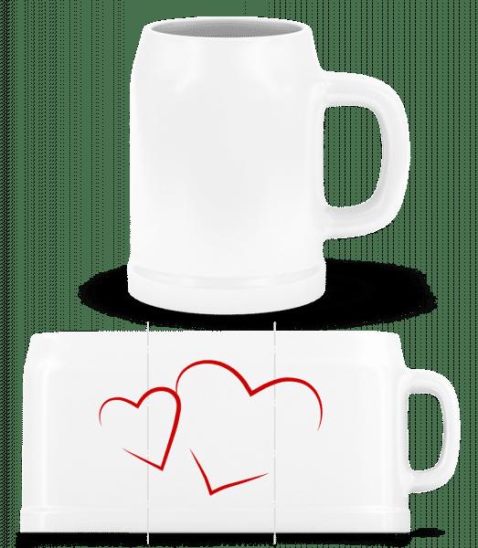 Hearts - Beer Mug - White - Vorn