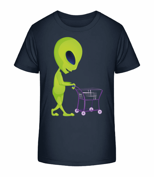 Alien With Shopping Cart - Kid's Premium Bio T-Shirt - Navy - Front
